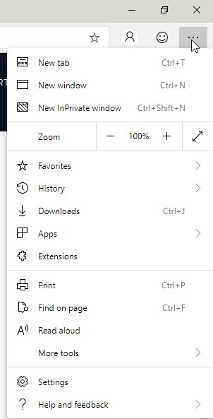 Chromium Edge Browser Menu