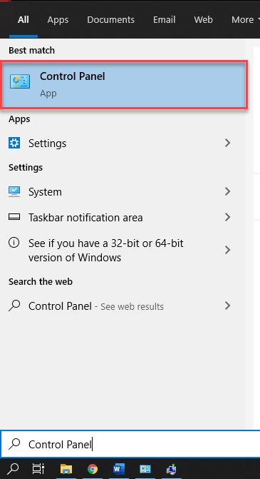 Start menu to open Control panel