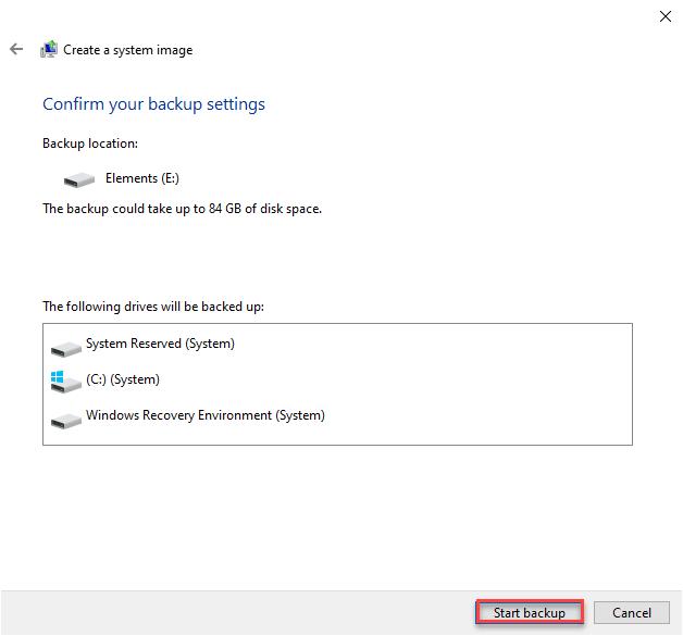 Window tells you which drive backup-ed