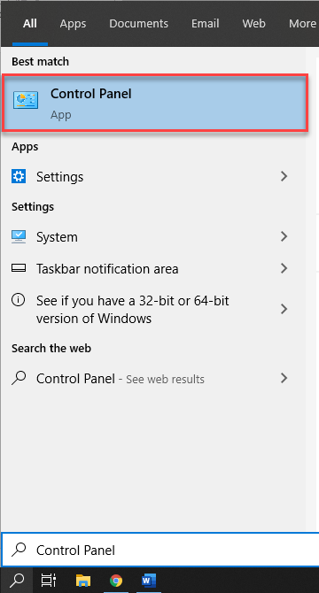 Start menu to open Control Panel