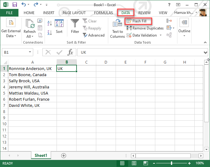 Select Flash Fill from Data Tab