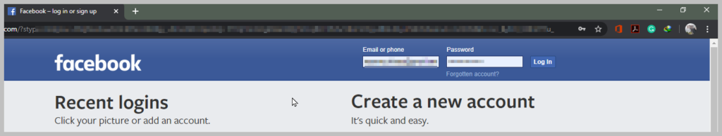 Log-in to your Facebook Account