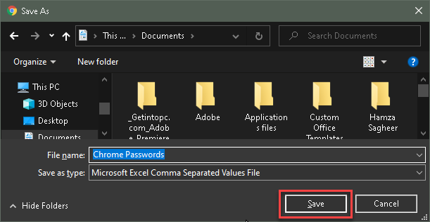 Type the File name and Click Save