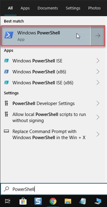 Type PowerShell in Start menu
