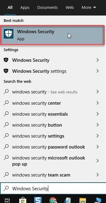 Click on Windows Security
