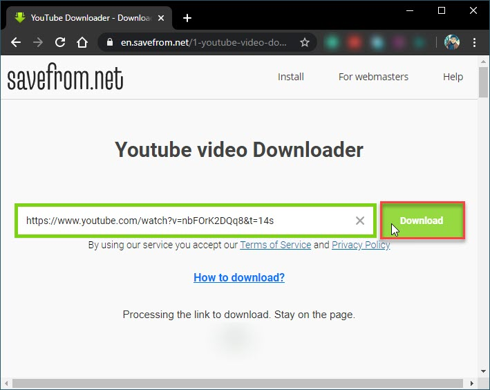 Paste the URL and click Download