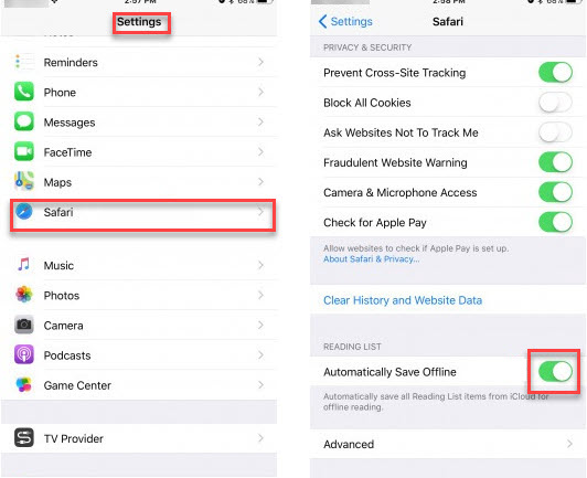 Open Settings & Enable automatically save offline