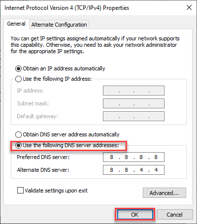 click ok to add DNS Servers For Better Browsing