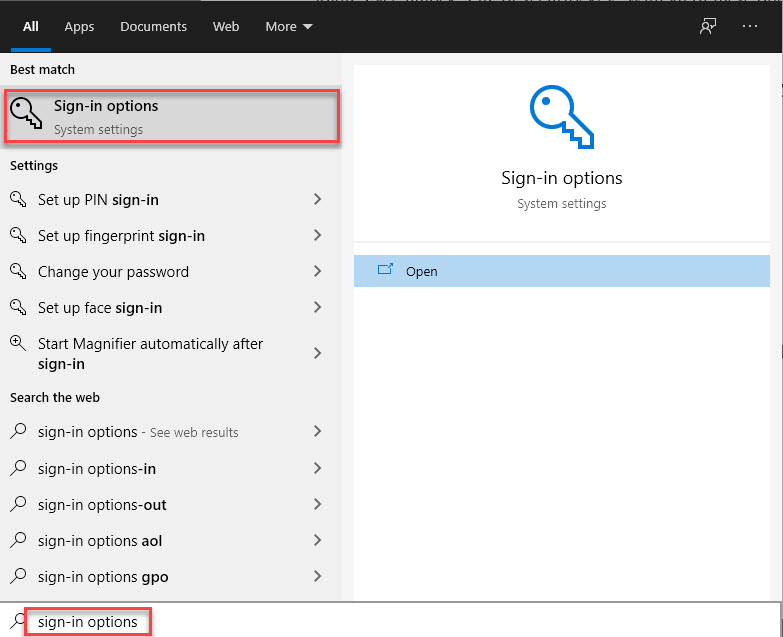 Type Sign In Options - Automatically Login Windows 10