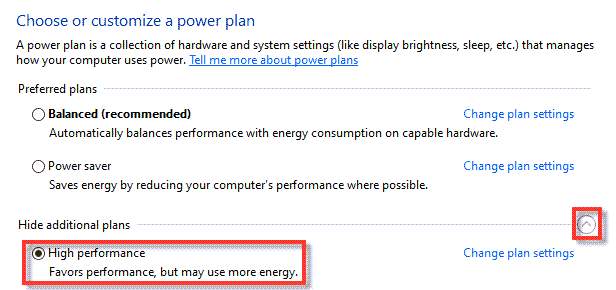 Use High Performance Power Plan to optimize windows 10 for gaming