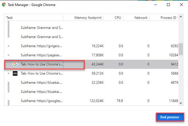 Chrome's Task Manager