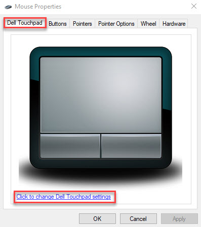 Reset Dell Touchpad